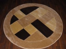 MODERN 140X140CM CIRCLE RUGS WOVEN BACK HAND CARVED BLOCKS RANGE BEIGES/BROWNS